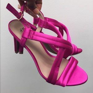 H & M Fuchsia Pink Satin Open Toe Heels